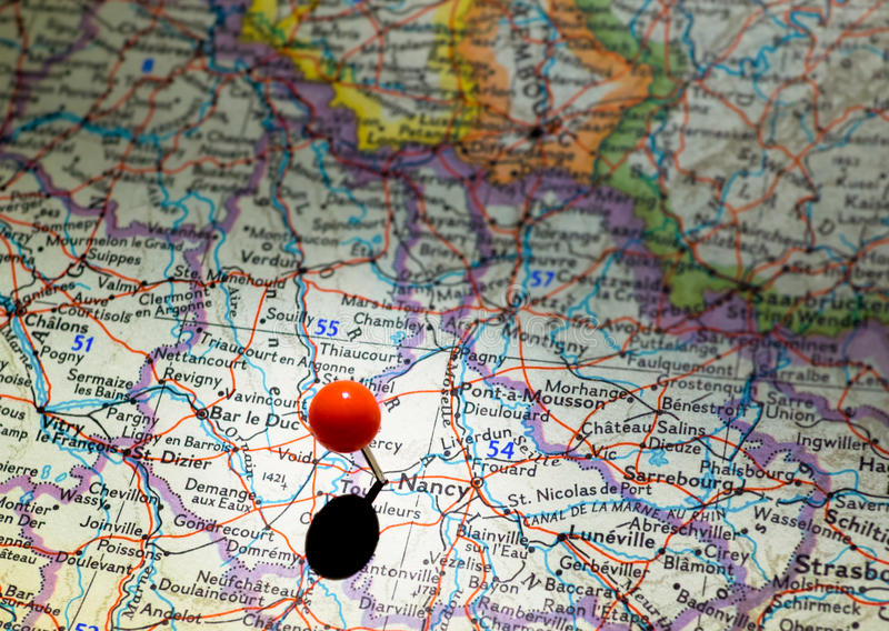 Nancy Location Pinned On The Route Map Stock Image Image of