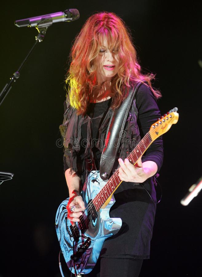 Heart performs in concert. Nancy Wilson with Heart performs in concert at the Cruzan Amphitheater in West Palm Beach, Florida on June 15, 2011 stock image