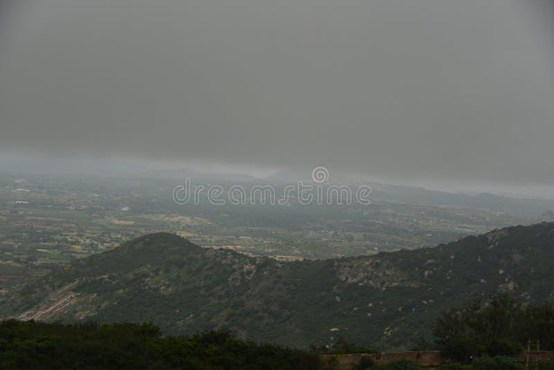 Nandi Hills landscape view, Karnataka. India royalty free stock photo