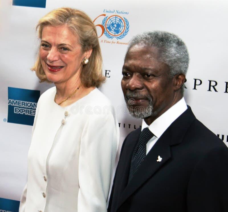 Nane Maria Lagergren en Kofi Annan royalty-vrije stock foto's