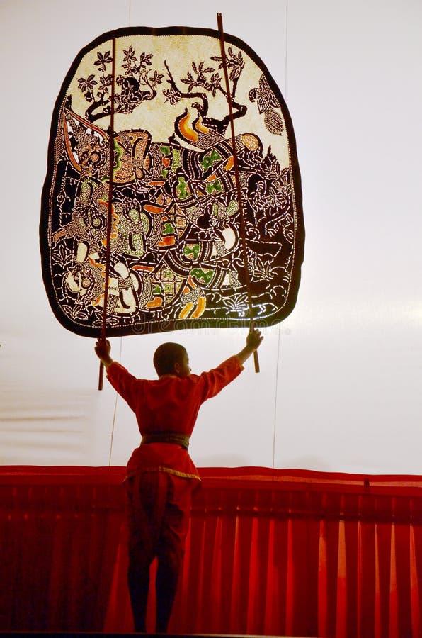 Nang亚伊木偶在Wat Khanon国家博物馆, Ratcha Buri泰国的皮影戏 图库摄影
