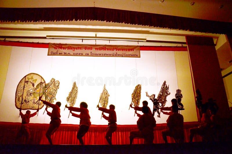 Nang亚伊木偶在Wat Khanon国家博物馆, Ratcha Buri泰国的皮影戏 库存照片