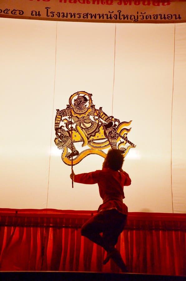 Nang亚伊木偶在Wat Khanon国家博物馆, Ratcha Buri泰国的皮影戏 免版税库存图片