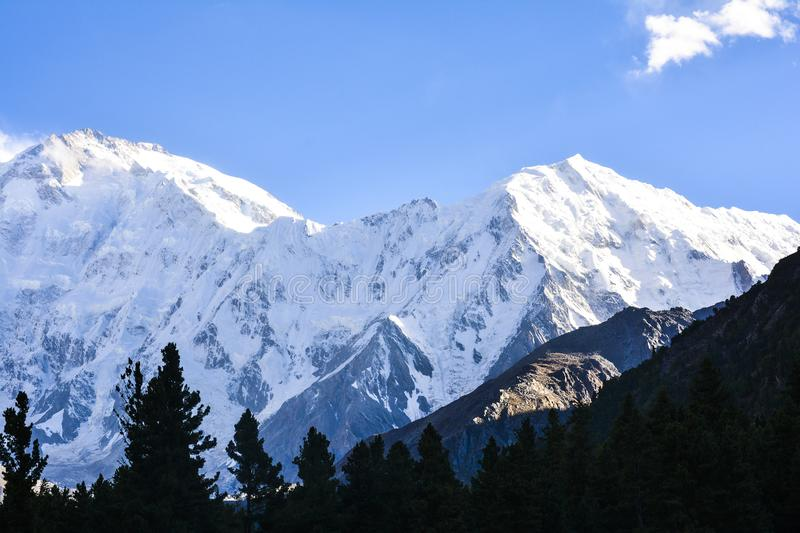 Nanga Parbat – The Killer Mountain. Nanga Parbat is considered the second hardest 8,000-meter peak after K2, the second highest peak in the world, as well royalty free stock photography