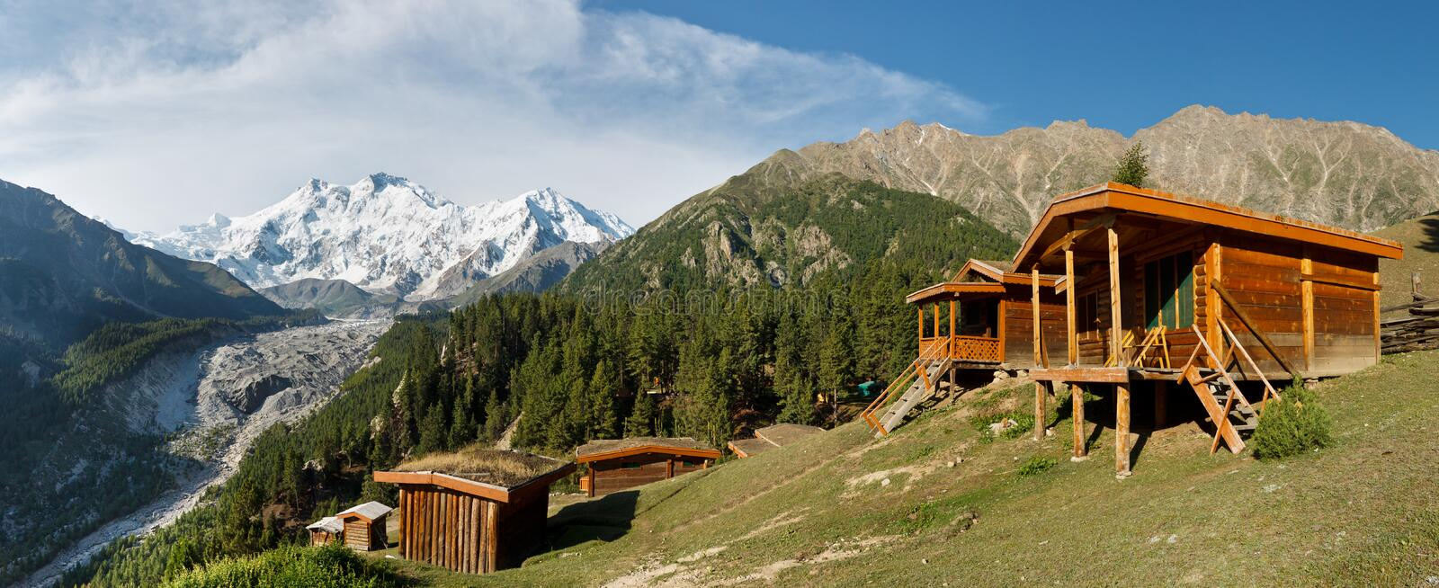 Nanga Parbat and Fairy Meadows Panorama. The world's ninth highest peak seen from the idyllic Fairy Meadows, Pakistan royalty free stock images