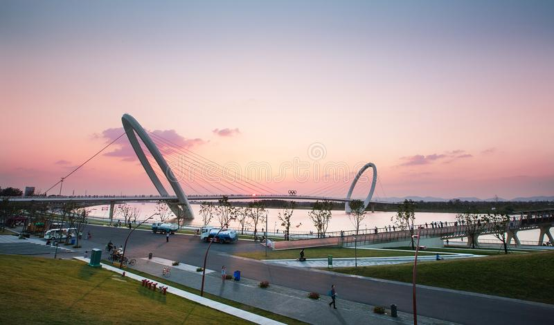 Nanjing-Auge des olympischen Sportzentrums Nanjings stockbild