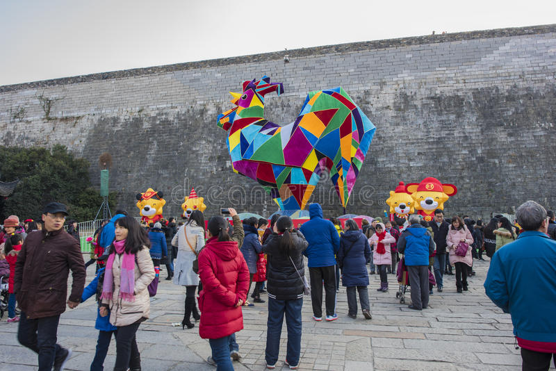 Nanjing big door under the east wall of the big lantern. This year is the Chinese lunar year, Jiangsu Nanjing old door east area in the Ming city wall to build a stock image
