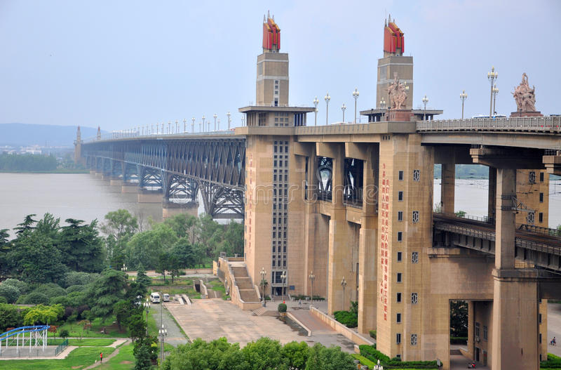 nanjing bridżowa rzeka Yangtze obrazy royalty free