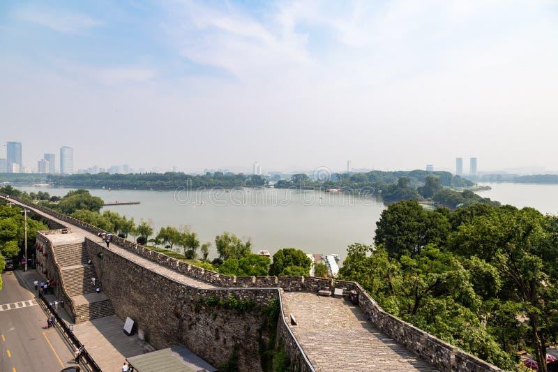Nanjing, China: view of Xuan Wu Lake and of the old city walls. Nanjing, Jiangsu province, China: view of Xuan Wu Lake and of the old city walls near Jiming royalty free stock image