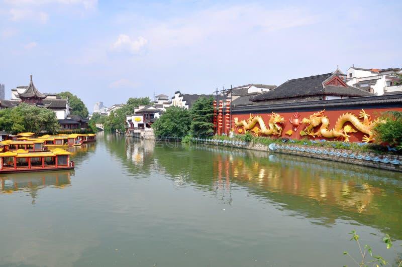 Nanjing Confucius Temple. Dragon Wall on the bank of Qinhuai River in Confucius Temple, Nanjing, Jiangsu Province, China. Nanjing Confucius Temple (Fuzi Miao) go stock image