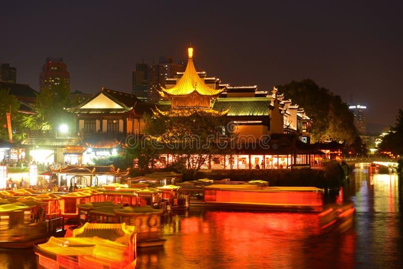 Nanjing Confucius Temple, China. Confucius Temple on the bank of Qinhuai River at night, Nanjing, Jiangsu Province, China. Nanjing Confucius Temple Fuzi Miao go stock photos