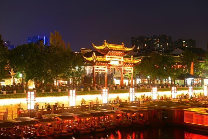 Nanjing Confucius Temple, China. Tian-Xia-Wen-Shu means the center of national culture Archeay Paifang on the bank of Qinhuai River at night, Nanjing, Jiangsu royalty free stock images