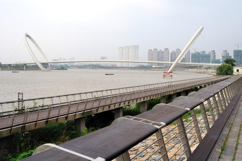 Nanjing eye bridge walk stock image