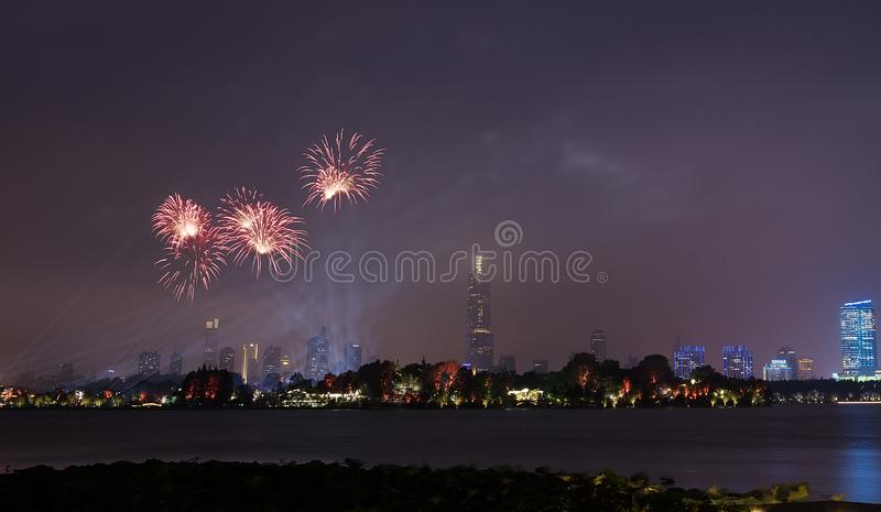 Fireworks in Xuanwu Lake. Nanjing has mountains, water, ancient cities, forests, is the world`s literary capital. Among them, Xuanwu Lake is one of the famous stock photos
