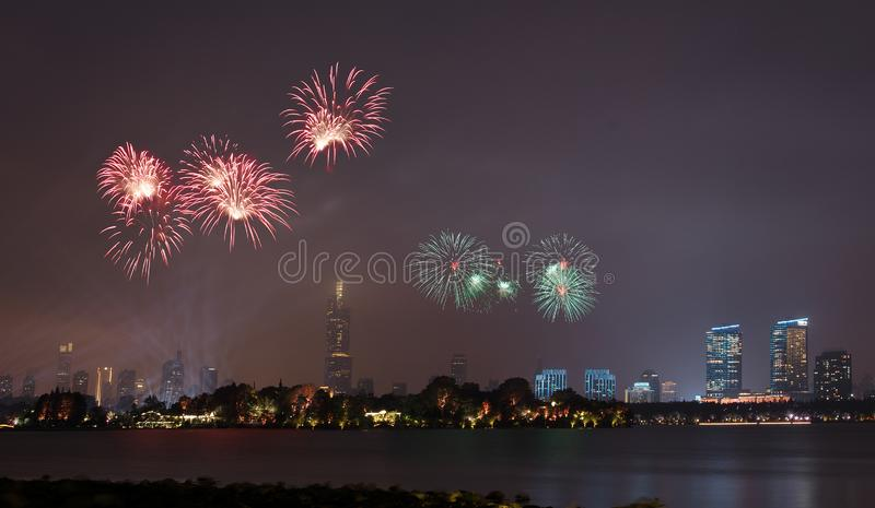 Fireworks in Xuanwu Lake. Nanjing has mountains, water, ancient cities, forests, is the world`s literary capital. Among them, Xuanwu Lake is one of the famous stock image