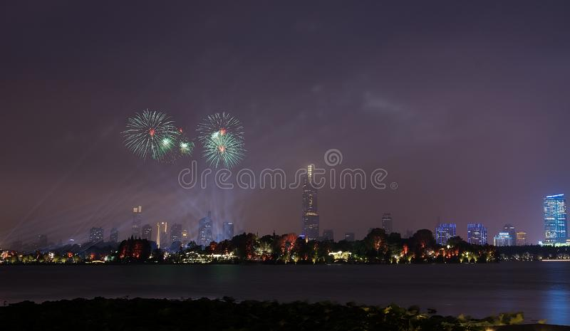 Fireworks in Xuanwu Lake. Nanjing has mountains, water, ancient cities, forests, is the world`s literary capital. Among them, Xuanwu Lake is one of the famous royalty free stock image