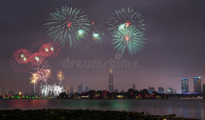 Fireworks in Xuanwu Lake. Nanjing has mountains, water, ancient cities, forests, is the world`s literary capital. Among them, Xuanwu Lake is one of the famous royalty free stock images