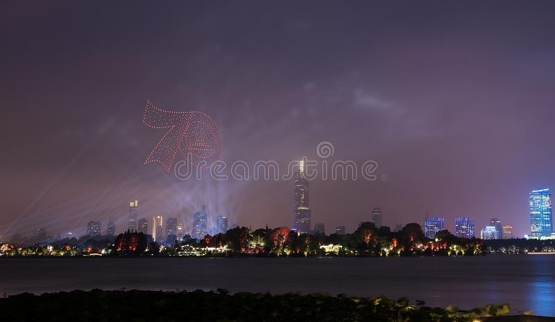 Fireworks in Xuanwu Lake. Nanjing has mountains, water, ancient cities, forests, is the world`s literary capital. Among them, Xuanwu Lake is one of the famous royalty free stock photos
