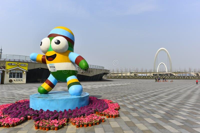 Nanjing-Jugend Olympische Spiele mascots le le stockbilder