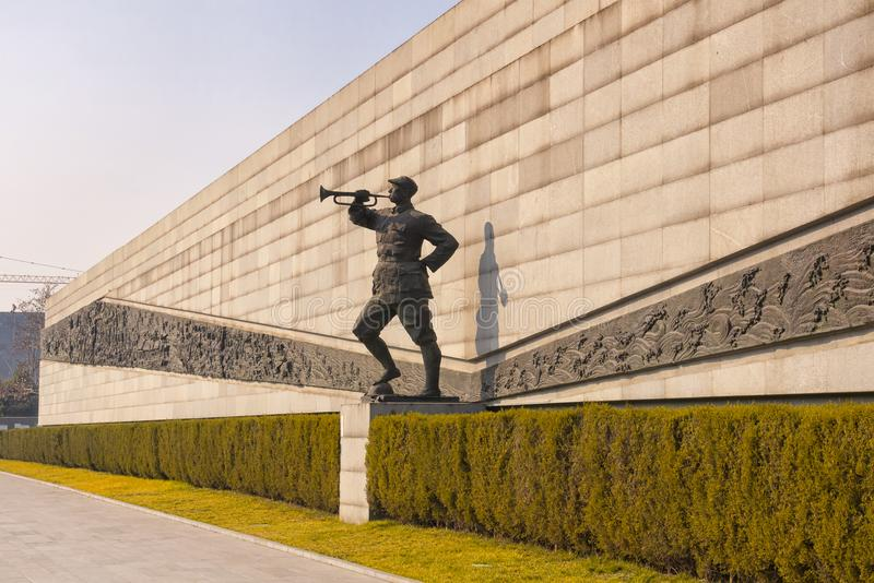 Nanjing Massacre Museum Site. A japanese soldier statue from world war 2 at the nanjing massacre museum in Jiangsu province royalty free stock photos