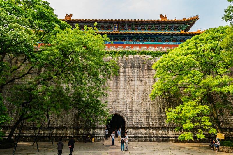 China Nanjing Ming Xiaoling Mausoleum 34. Nanjing Ming Xiaoling Lou Mausoleum Main Building Soul Tower Entrance View with Walking Tourists stock photo