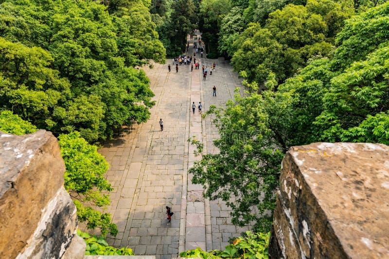China Nanjing Ming Xiaoling Mausoleum 36. Nanjing Ming Xiaoling Lou Mausoleum Main Building Soul Tower High Angle View with Walking Tourists stock photography