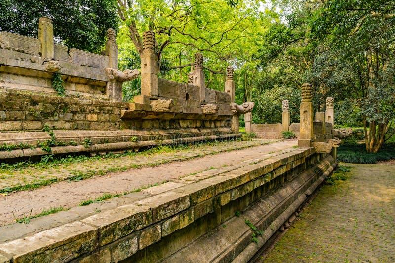 China Nanjing Ming Xiaoling Mausoleum 27. Nanjing Ming Xiaoling Mausoleum Dongpei Dianjizhi Dragon Sculptures Terrace near Tablet Hall stock photo