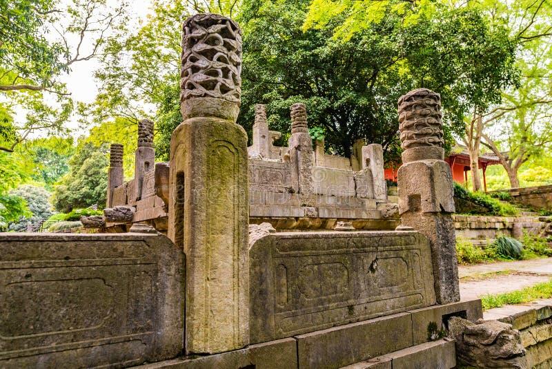 China Nanjing Ming Xiaoling Mausoleum 30. Nanjing Ming Xiaoling Mausoleum Dongpei Dianjizhi Dragon Sculptures Terrace near Tablet Hall stock images