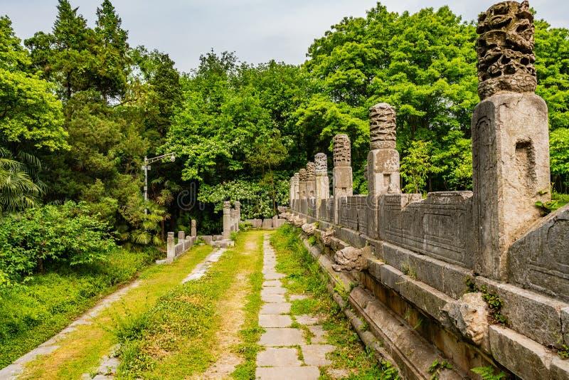 China Nanjing Ming Xiaoling Mausoleum 32. Nanjing Ming Xiaoling Mausoleum Dongpei Dianjizhi Dragon Sculptures Terrace near Tablet Hall stock photos