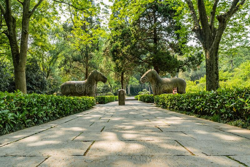 China Nanjing Ming Xiaoling Mausoleum 20. Nanjing Ming Xiaoling Mausoleum Elephant Road Spirit Way Leading Lines Two Standing Horses Sculptures royalty free stock photo