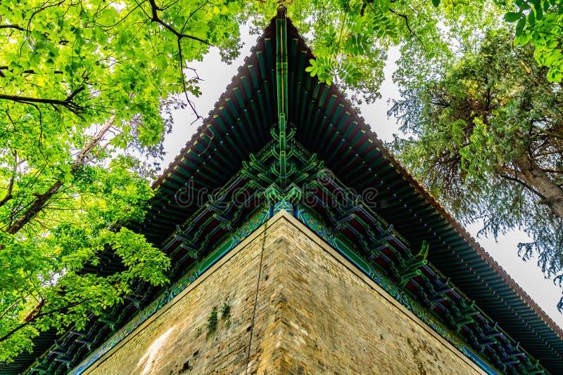 China Nanjing Ming Xiaoling Mausoleum 07. Nanjing Ming Xiaoling Mausoleum Sifangcheng Square City Pavilion Picturesque Roof Low Angle View stock image