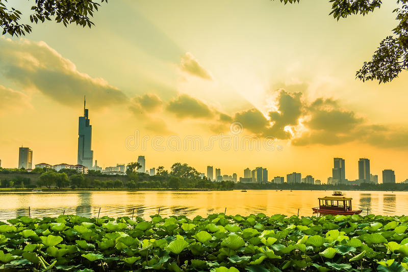 Nanjing sunset. This photo was taken in Xuanwu lake park ,Nanjing city, Jiangsu province, china stock photography