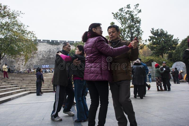 Nanjing tłumu kwadratowy taniec obrazy stock