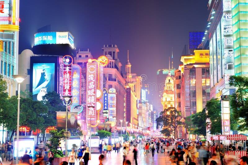 Nanjing väg i Shanghai arkivfoton