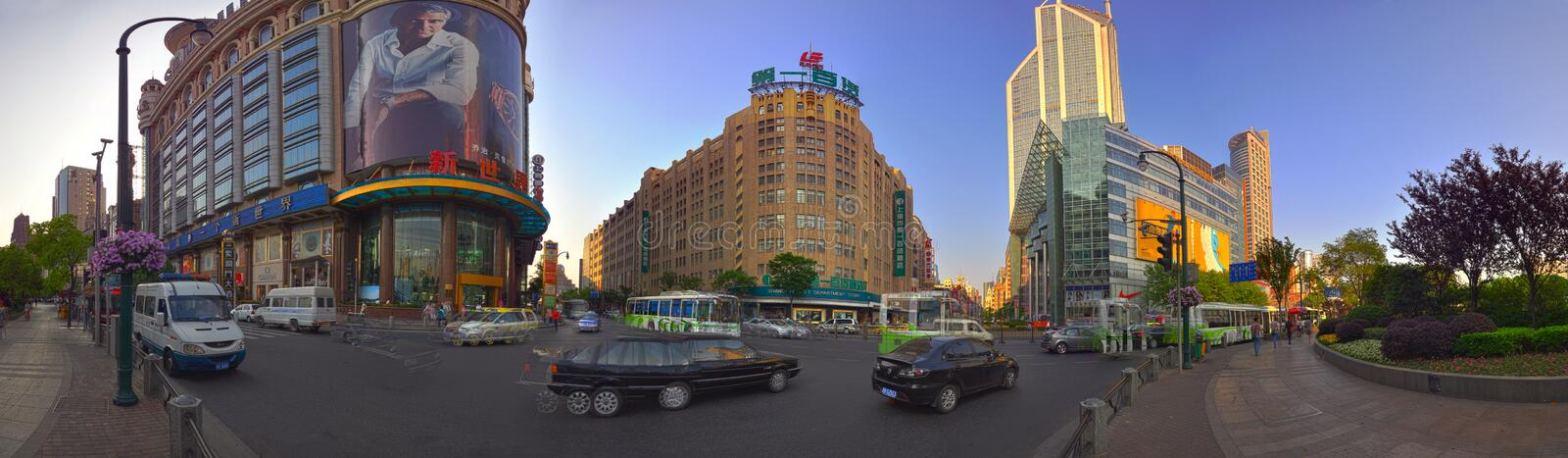 Nanjing West Road of Shanghai, China. Panoramic view of Nanjing west Road of Shanghai, China. Useful for magazine who are looking for a more creative angle stock images