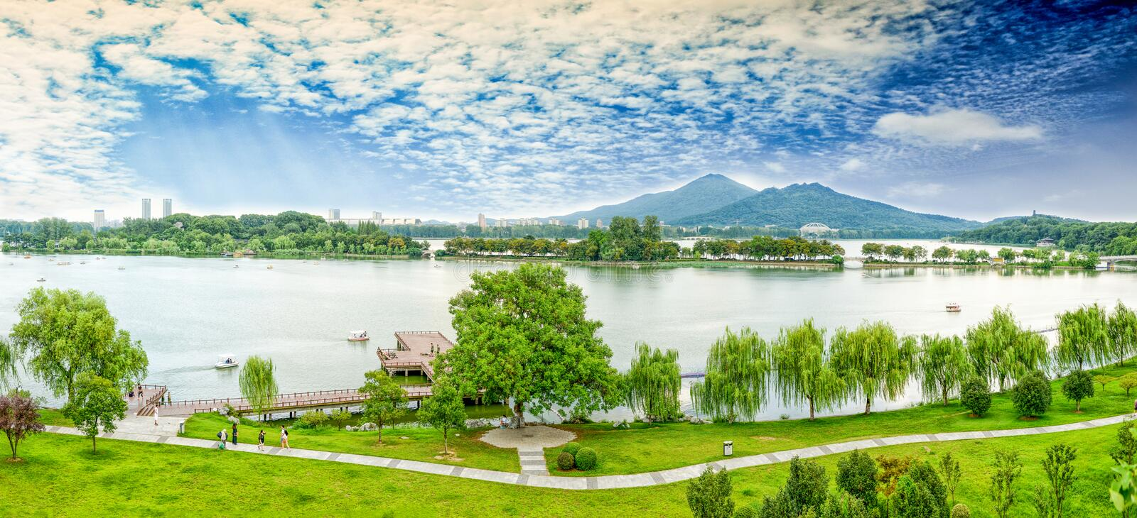 Nanjing Xuanwu Lake. Xuanwu Lake in Nanjing City, is at the foot of Purple Mountain National Scenic Area, China's largest imperial garden of the lake stock photography