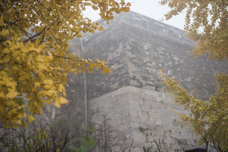 Nanjing Zhonghuamen Ming Dynasty Ancient Castle in Dense Fog. Photographed in Qinhuai District, Nanjing, Jiangsu stock photo