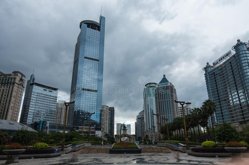 NANNING, CHINA AUGUST 2018: Nanning City Center under Overcast C. Louds with Tall Skyscrapers stock images