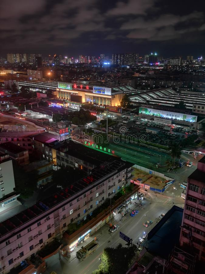 Nanning railway station at night. Nanning station has become nanning railway bureau the first set of passenger and cargo transport as one of the top stations stock photography