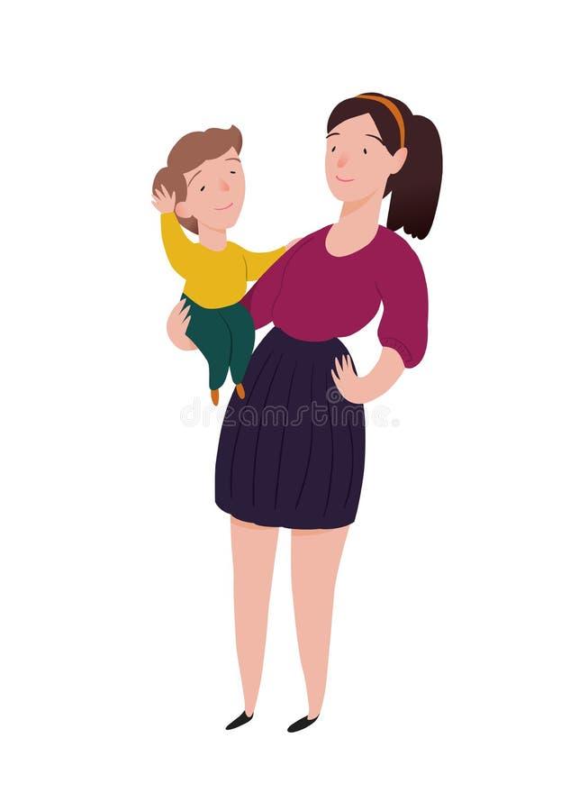 nanny La babysitter de fille tient le bébé dans le bras Les personnes de caractère dirigent l'illustration illustration de vecteur