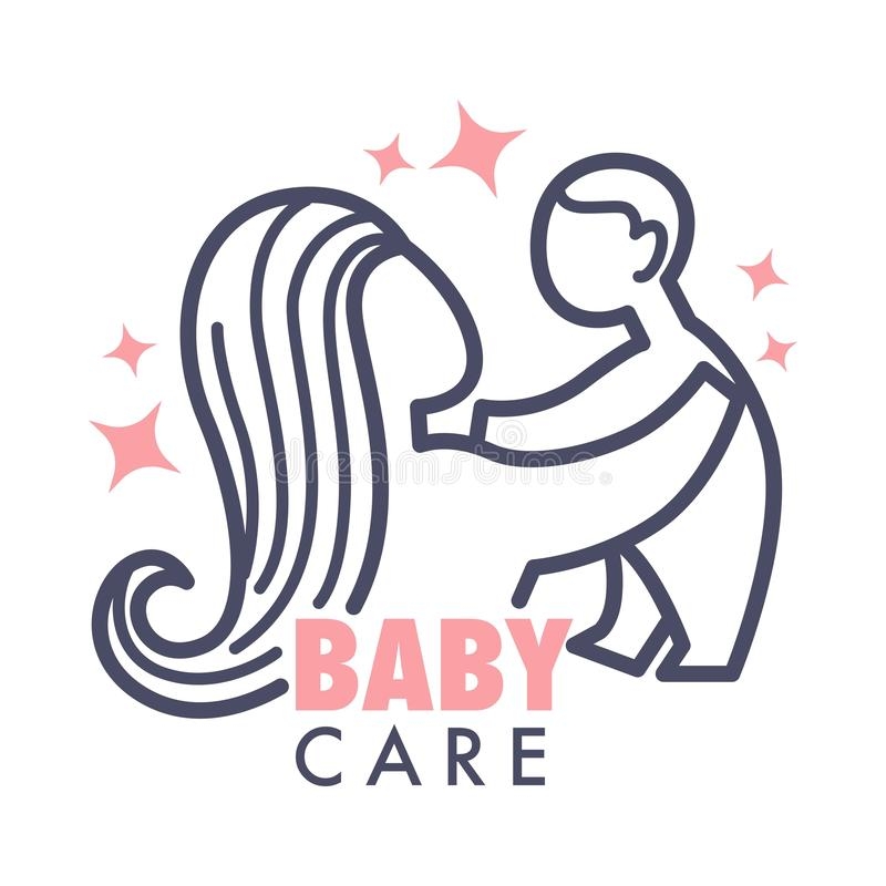 Nanny service isolated icon mother and baby pink heart vector child care and babysitter agency royalty free illustration
