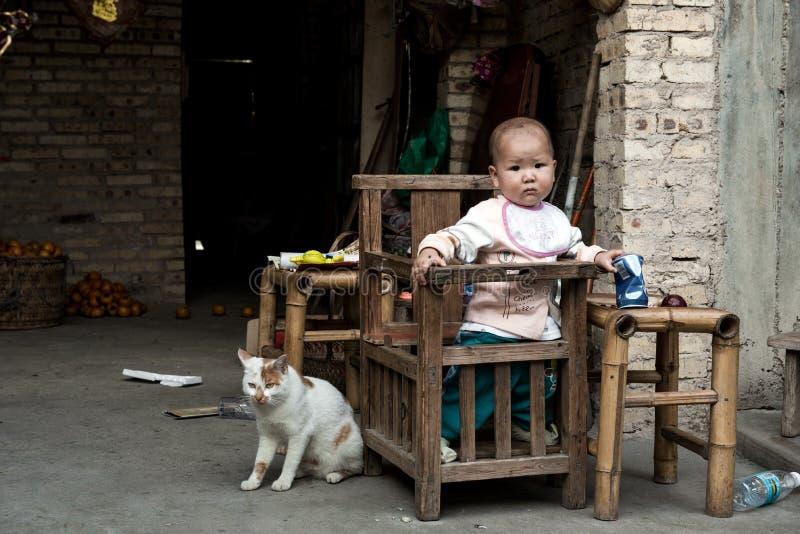 Nannyish Cat and Baby Boy royalty free stock photography