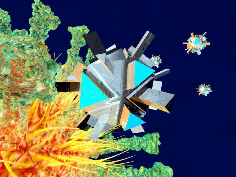 Nano средство атакуя вирус иллюстрация вектора