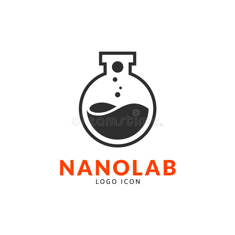 Nano malplaatje van het laboratoriumembleem stock illustratie