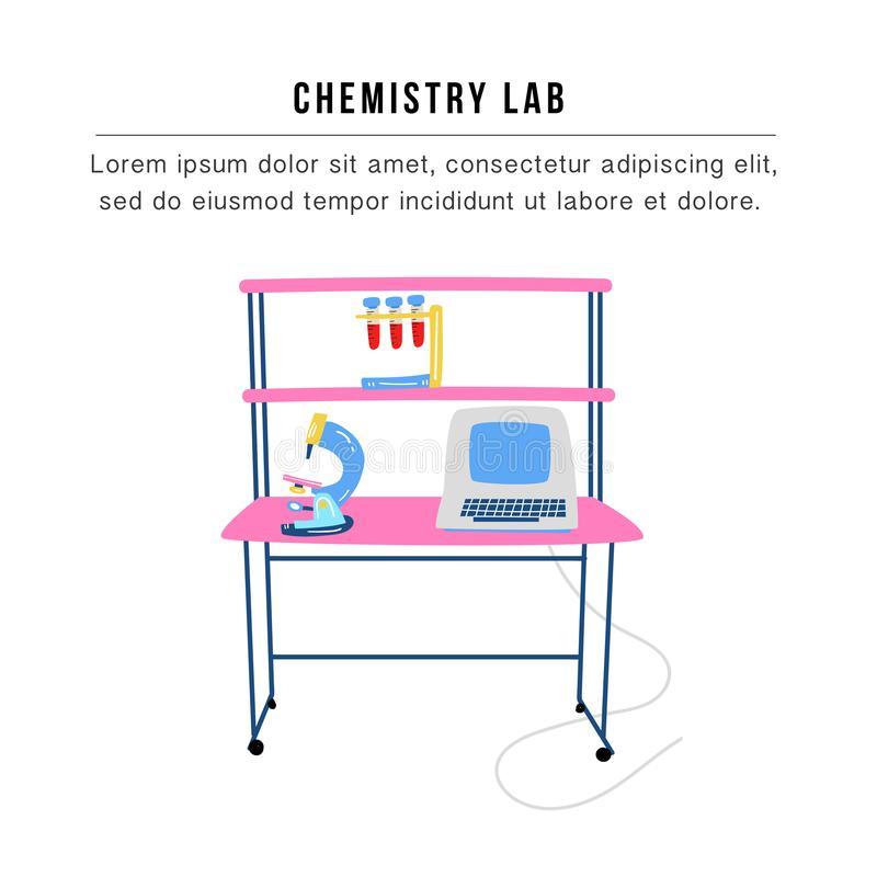 Nano medicine concept - medical research laboratory. Vector illustration royalty free illustration