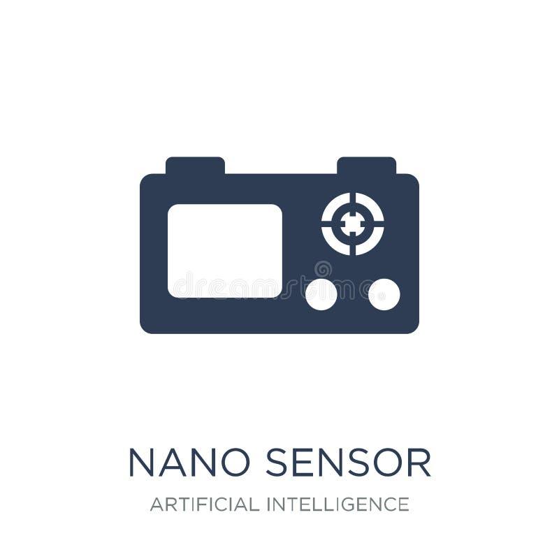 Nano sensorpictogram In vlak vector Nano sensorpictogram op witte B stock illustratie