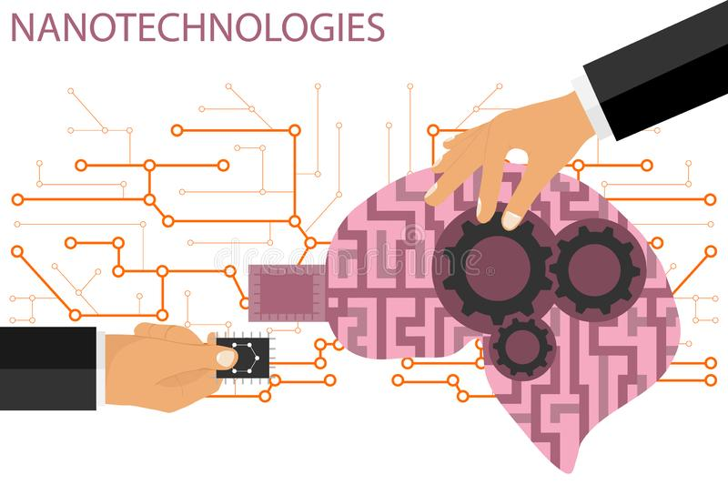 Nano technologies flat composition. Human brain with micro chip and metal gears. A hand inserts a microchip into the human brain. royalty free illustration