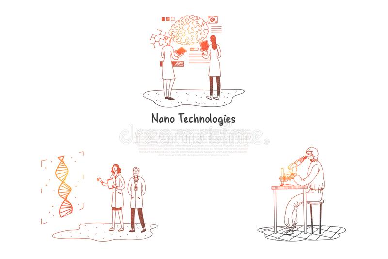 Nano technologies - scientists making research in laboratories vector concept set vector illustration