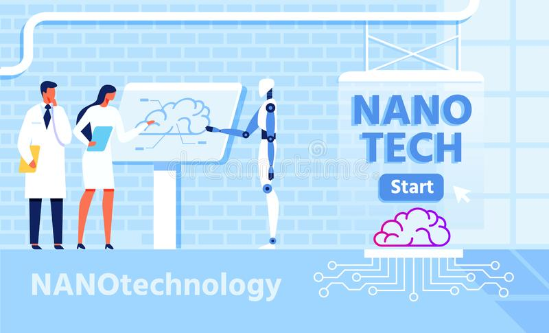 Nano Technology for Improvement Brain Functions. With Micro Chip. Vector Co-working People with Artificial Intelligence. Robot and Scientists Discussing Atomic vector illustration