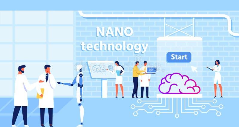 Nano Technology Lab e funzione di miglioramento del cervello royalty illustrazione gratis